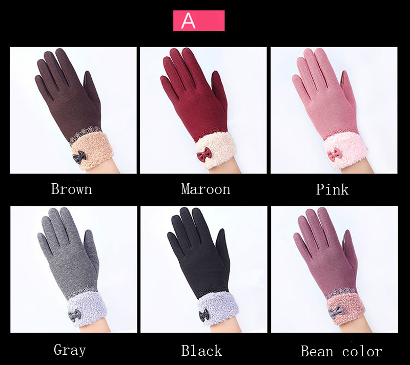 NIUPOZ Fashionable Women Touch Screen Gloves for Winter Made of Warp Knitted Velvet Material including Warm and Windproof Property 3