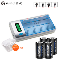 PALO LCD Display smart Battery Charger For AA/AAA/SC/C/D/9V Batteries + 4 Pcs 1.2V Ni MH C size rechargeable Battery