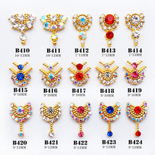 10pcs 3D alloy Nail art Accessories shinning crystal gold nails jewelry top-level nail beauty Charms