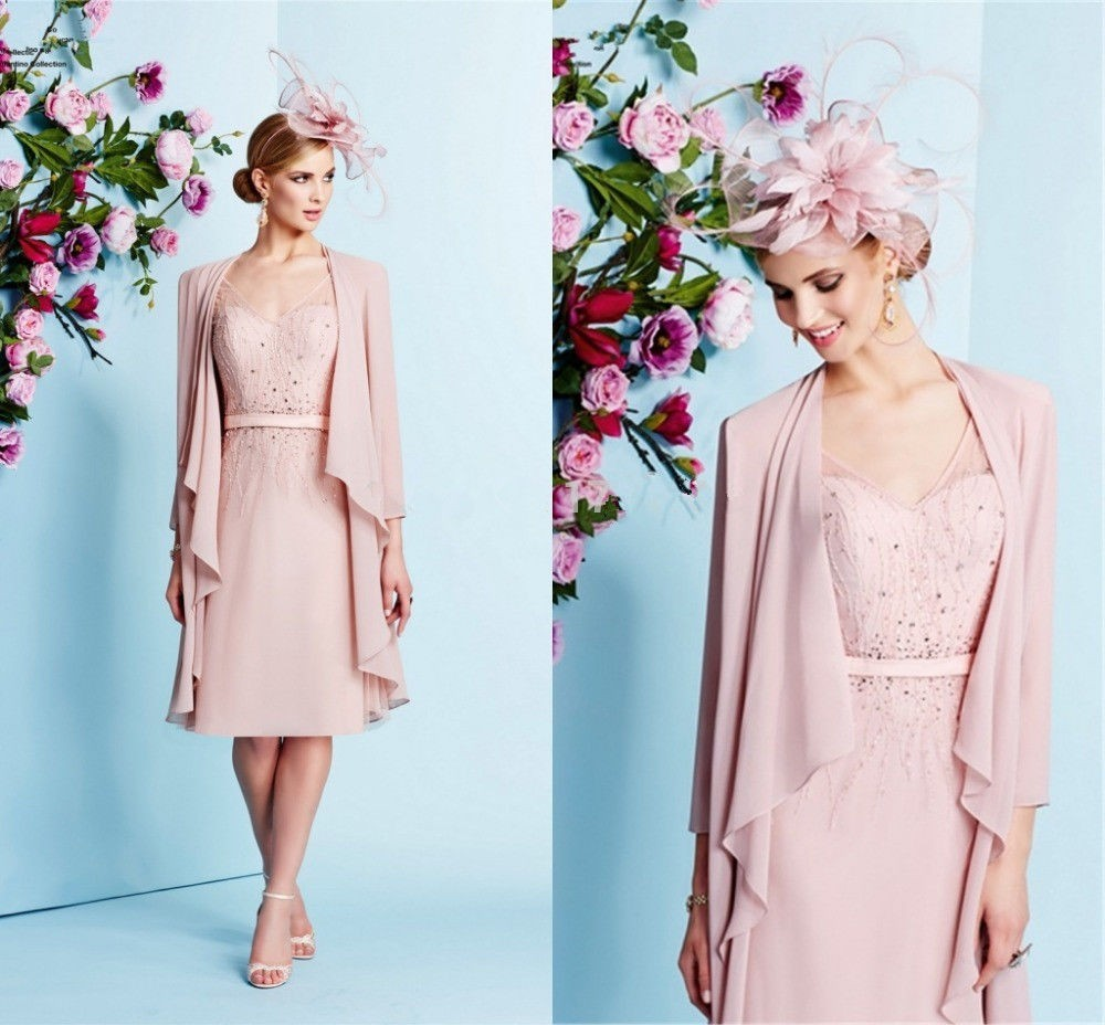 Gorgeous Pink Mother of the Bride Dresses with Beaded Knee-Length with Coat Women Formal Outfits Women Formal Party Dress