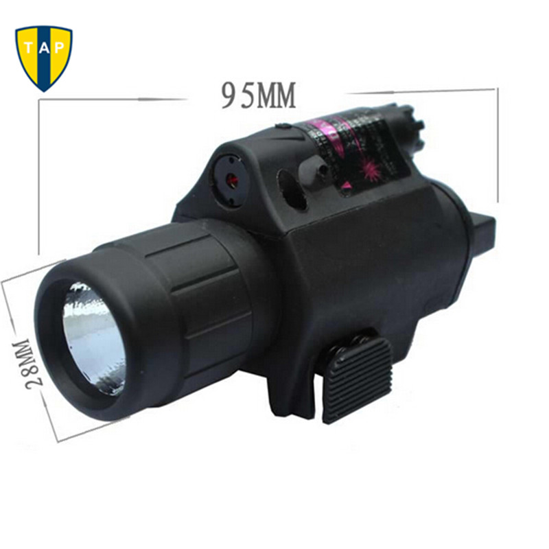 2in1 Hunting Tactical CREE LED Flashlight LIGHT+Red Dot Laser Sight Combo for Shotgun Glock 17 19 22 20 23 31 37 Pistol Rifle