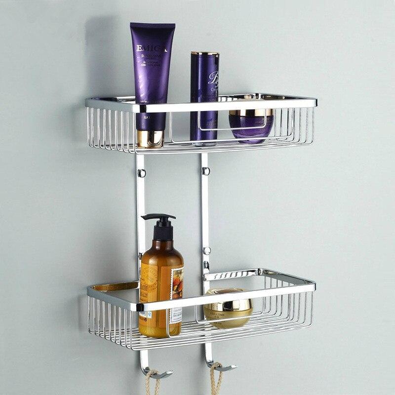 Нержавеющая сталь полки для ванной комнаты 2 уровня шампунь мыло косметические полки Аксессуары для ванной комнаты хранения Организатор ст...
