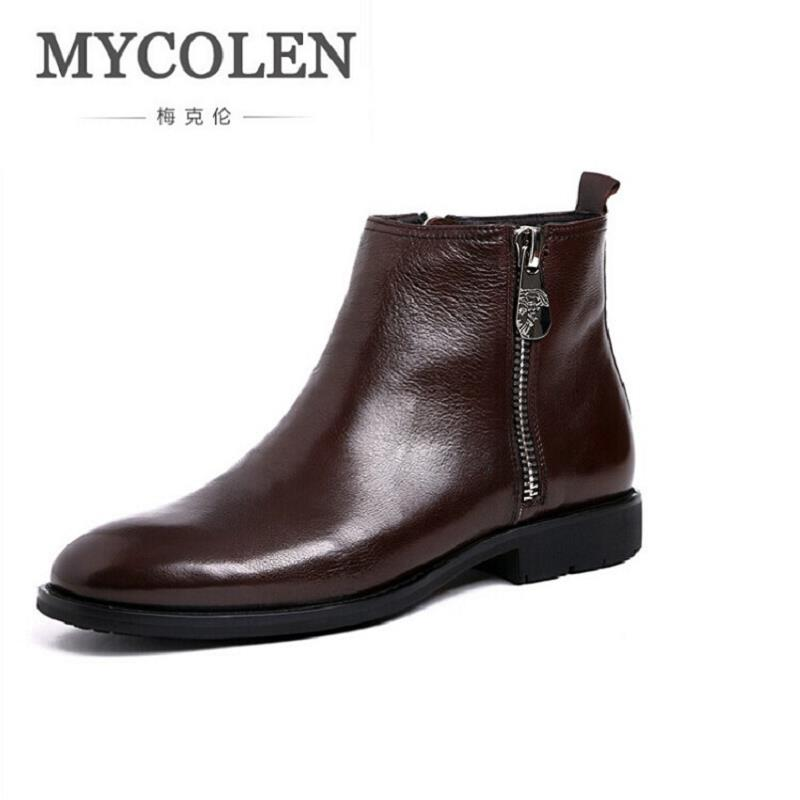 MYCOLEN Brand Quality Cowhide Leather Winter Shoes Men Casual Handmade Round Toe Zipper Motorcycle Boots Comfortable Men Boots northmarch autumn winter retro men boots comfortable zipper brand casual shoes leather snow boots shoes dark red bota masculina