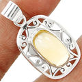Hand made Genuine Citrine Pendant 925 Sterling Silver,  37mm ,4.9g,  AP0078