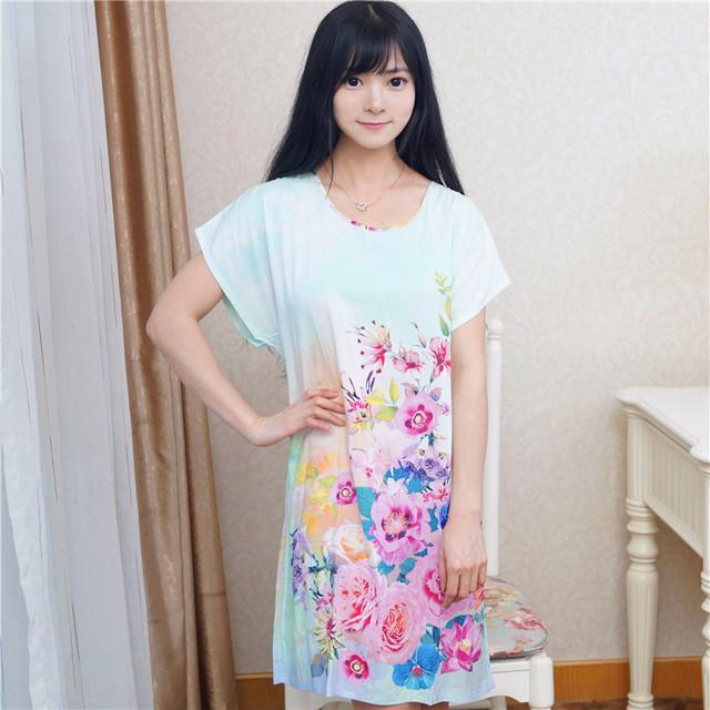 Luz azul verão mulheres pijamas de algodão nova marca de impressão roupões de banho vestido Sexy Nightgowns flor vestido para casa um tamanho NR194
