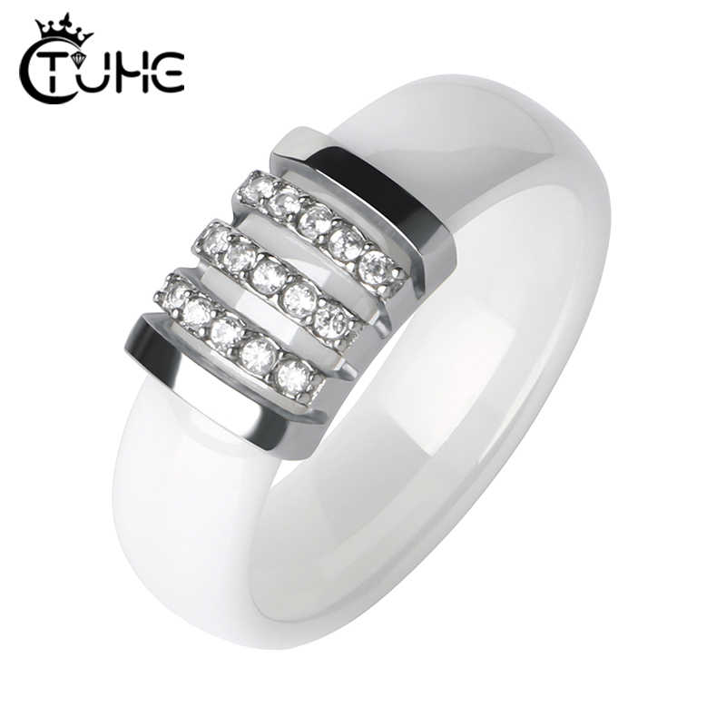 Fashion Black White Unique Rings Women 6mm Ceramic Ring For Women Pave Crystal Comfort Wedding Rings Engagement Brand Jewelry