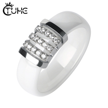 Fashion Black White Unique Rings Women 6mm Ceramic Ring For Pave Crystal Comfort Wedding Engagement Brand Jewelry