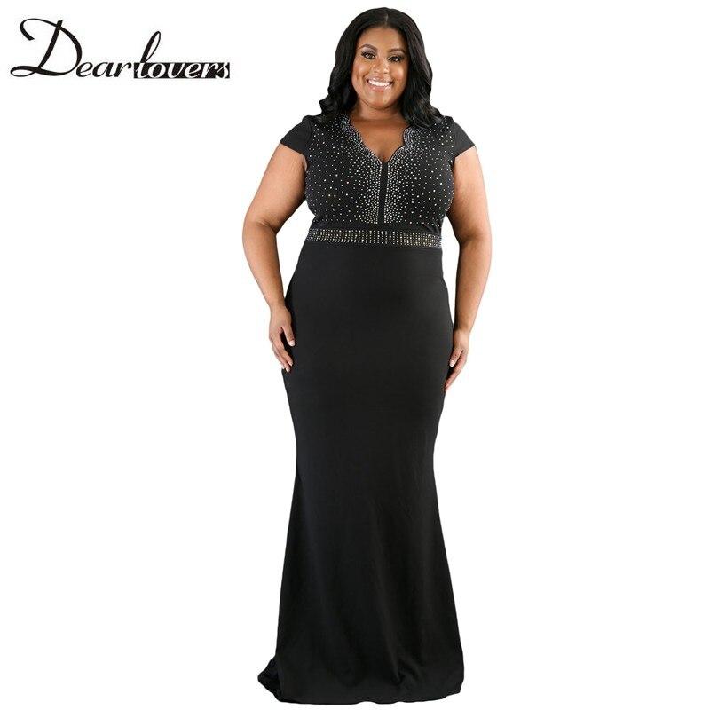 Dear lover Women Plus Size Spandex Dress Black Rhinestone ...