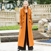 New Brand 2017 Winter Long Wool Coats Women Camel Wool Blends Double Breasted X Long Plus