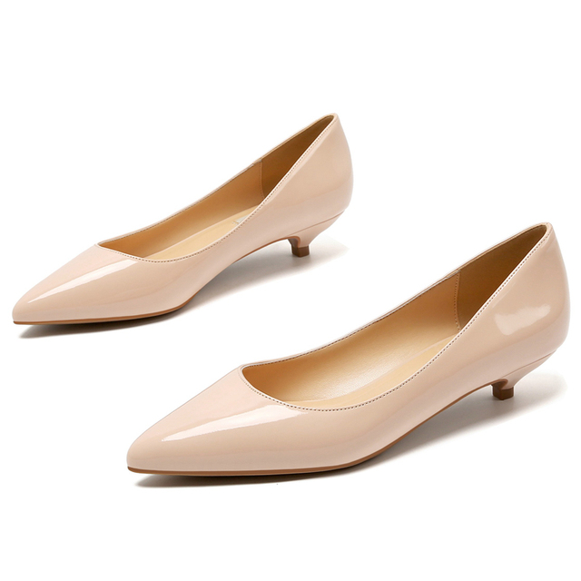 Genuine Leather Pumps Women Low Heels White Color Pointed Toe Shallow Work Shoes Pointed Toe Office Dress Shoes Mules E0007