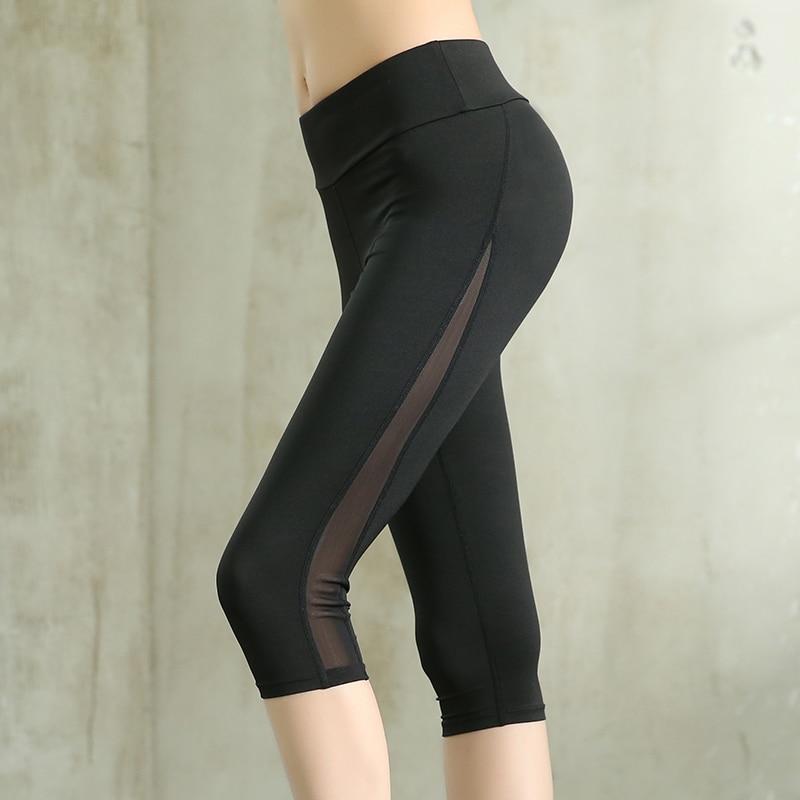 Nyári nők termesztése jóga nadrág fitness edzés vágott sport leggings vékony capris 3/4 tornaterem futó nadrág mesh patchwork harisnya