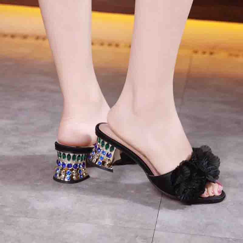 color Rhinestones Women Sandals PVC Summer Open Toe Sandals Thick Heel High-heeled Shoes Blue Gold Women Party Gauze Shoescolor Rhinestones Women Sandals PVC Summer Open Toe Sandals Thick Heel High-heeled Shoes Blue Gold Women Party Gauze Shoes