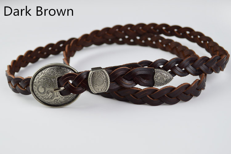 Модный женский ремень из натуральной кожи высокого качества, винтажный ремень с серебряной пряжкой, плетеный тонкий ремень для платья, Женский декоративный ремень - Цвет: Dark Brown