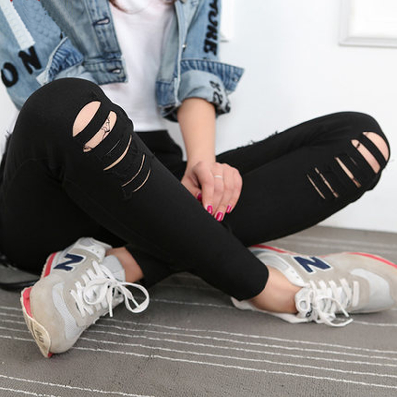 New Woman Jeans Ripped Denim Pants Holes In Knees Skinny Sexy Bottom Women Slim Trousers Summer Cotton High Elastic