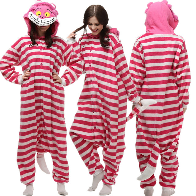 1f385a6c9cac Striped Jumpsuit Fleece Cartoon Animal Pajamas Adult Unisex Anime Cheshire  Cat Onesie 3D Face Halloween Christmas Party Costume