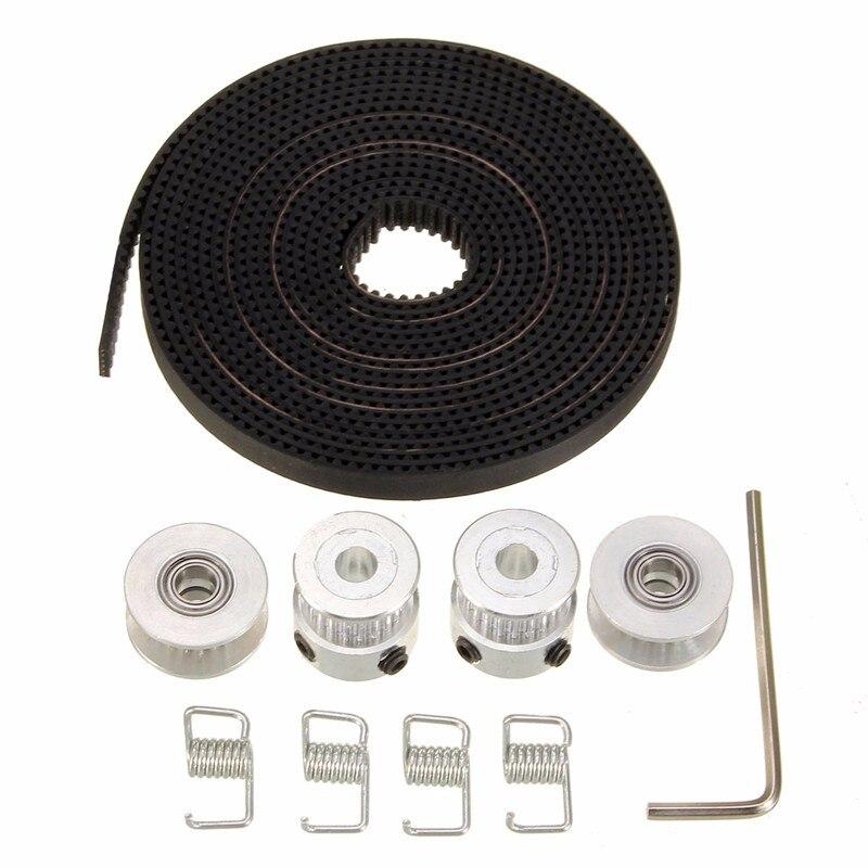 Durable 2X GT2 Pulley 20 Teeth Bore 5mm + 8ft 2.5m 2GT GT2 Timing Belt & 2X Idler 4X Tensioner for 3D printer RepRap