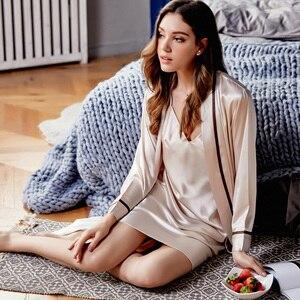 Image 4 - ローブセット女性ブランド春の新セクシーなシルクスリング寝間着ツーピース夏の氷の絹のバスローブパジャマ女性 X9201