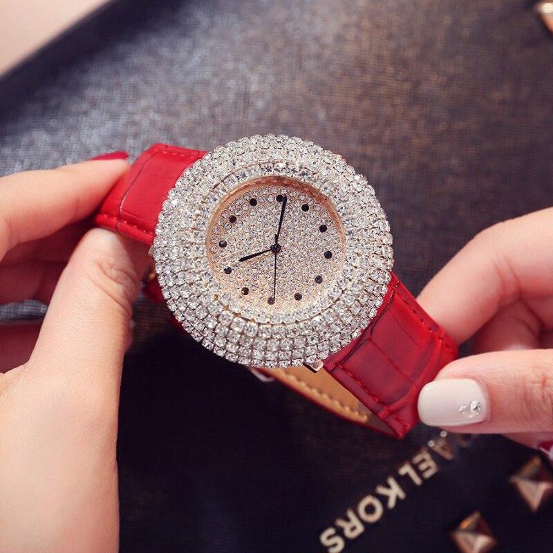 Ladies Fashion Rhinestone Watch Women Quartz Leather Casual Dress Women's Watch Clock Reloje Mujer 2018 Montre Femme цена