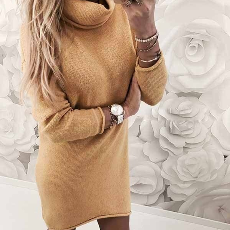 Autumn Winter Knitted Dress Women Turtleneck Casual Solid Loose Mini Dresses  Long Sleeve Warm Sweater Dress Vestido-in Dresses from Women s Clothing on  ... 5a7a23e85353