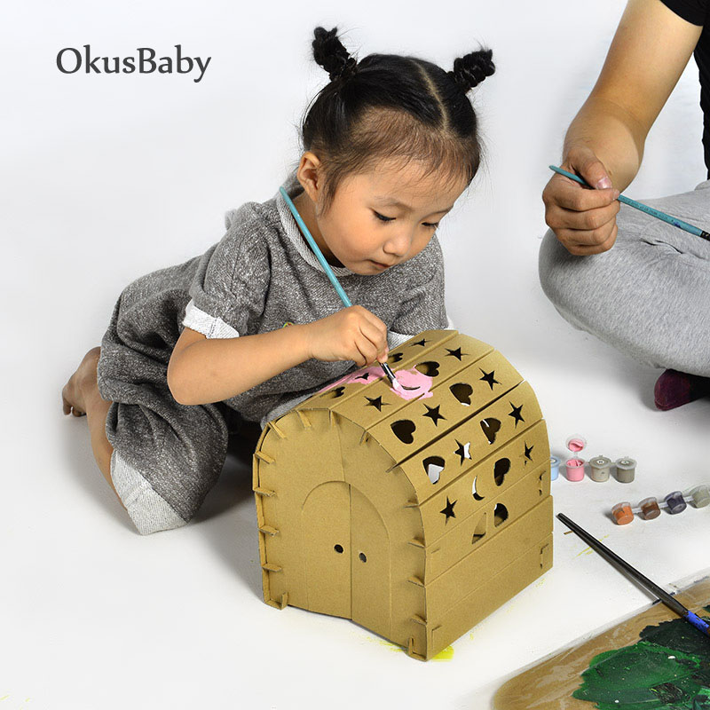 3D Natural Carton House Model Children Educational DIY Handcraft Doll House Toys Family Game Kids Painting Toy Rocket Set Gift
