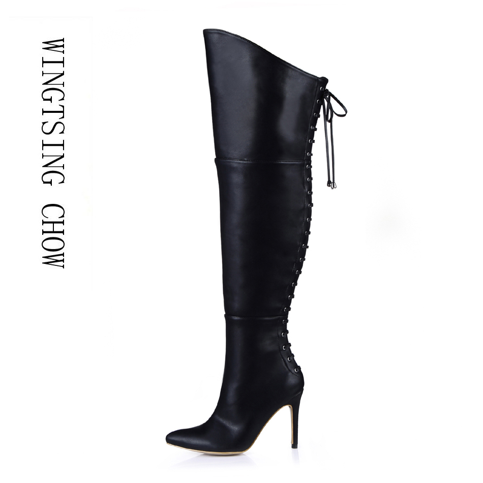 2016 Winter Black Sexy Party Shoes Women Pointed Toe Thin High Heels bandage Ladies Over-the-Knee Boots Zapatos Mujer 70887bt-y4 hot fashion spring over the knee boots sweet buckle denim women boots sexy pointed toe thin high heels shoes woman zapatos mujer
