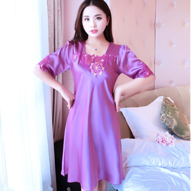 8ecc9f56d0 2018 New Women s Sexy Lingerie Satin Silk Night Dress Sleepwear 4 Color  Lace Nightgown Elegant Summer Dress AB041