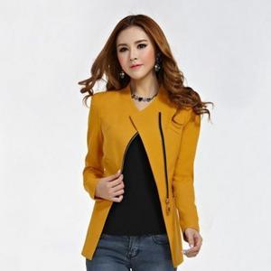 Image 3 - Fashion Women Jacket Long Sleeve Top Office Lady Zipper Blazer Suit Slim Fit Lapel Jacket Tops Coat Polyester Formal Outwear