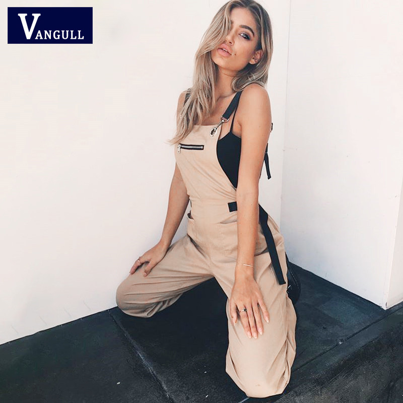 Vangull New Khaki Rompers Womens Jumpsuit Long Elegant Zipper Pockets Sleeveless Adjusted Strap High Waist Cotton Fashion Summer(China)