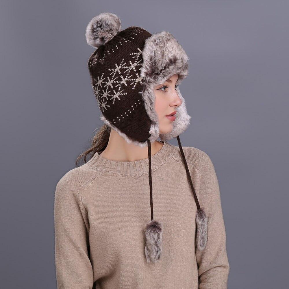 33ea672dee6a6d 2019 Snow Beanie Cap Ski Thick Knit Wool Popular Warm Women Winter ...