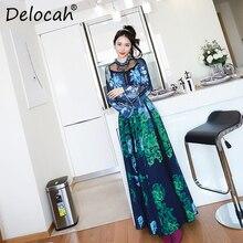 Delocah Women Spring Summer Dress Runway Fashion Designer Flare Sleeve Gorgeous Lace Flower Printed Vintage A-Line Ladies