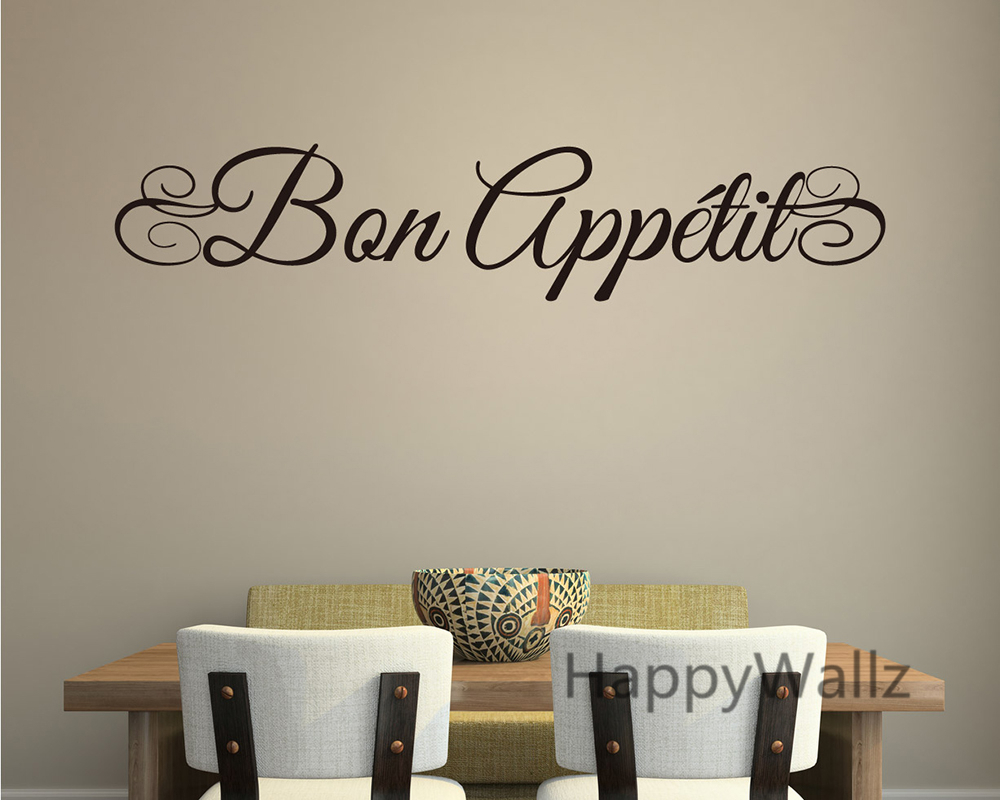 Bon Appetite Wall Quote Wall Sticker DIY Bon Appetite Dining Room Kitchen Wall Art Decal Home Quotes Vinyl Wall Art Decal Q107