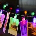 2.2 m Multicolor USB en Forma de Videoclip Foto Peg 20 LED Luz de Hadas LLEVÓ la Luz de Cadena Colgando Tarjeta de Imagen Home Garden Decor IP44 DC5V