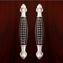 128mm silver black glass diamond high quality furniture decoration handles 5″ clear crystal cabinet wardrobe dresser door pull