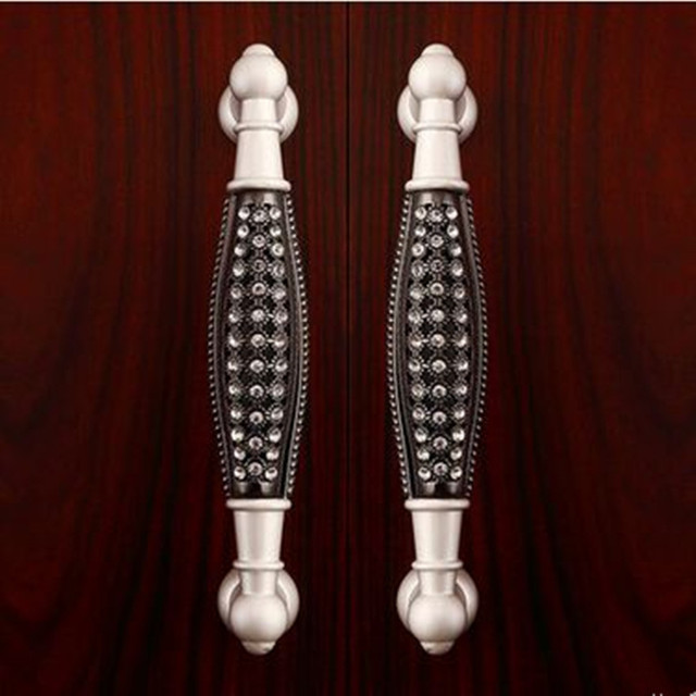 "128mm silver black glass diamond high quality furniture decoration handles 5"" clear crystal cabinet wardrobe dresser door pull"