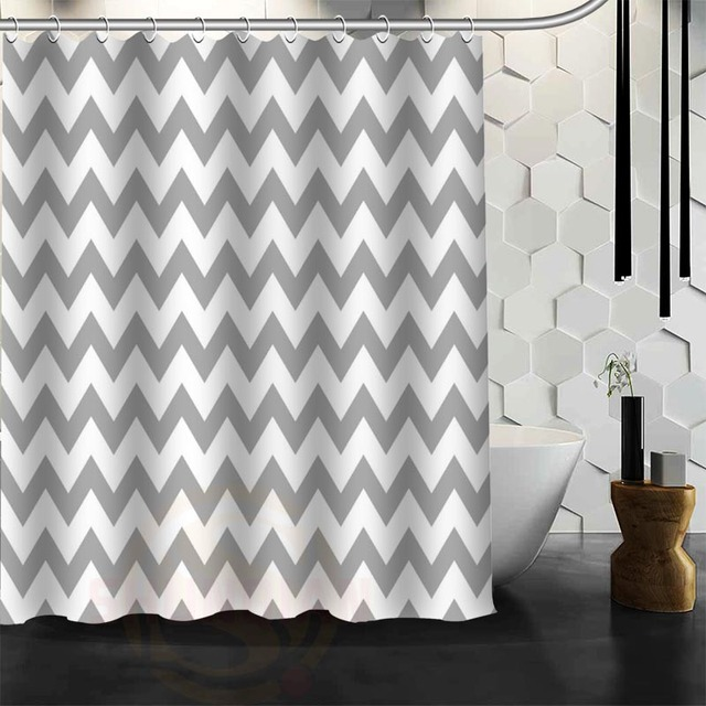 New Arrive Custom Classic Chevron Shower Curtain Polyester Fabric Bathroom With Hooks Free Shipping
