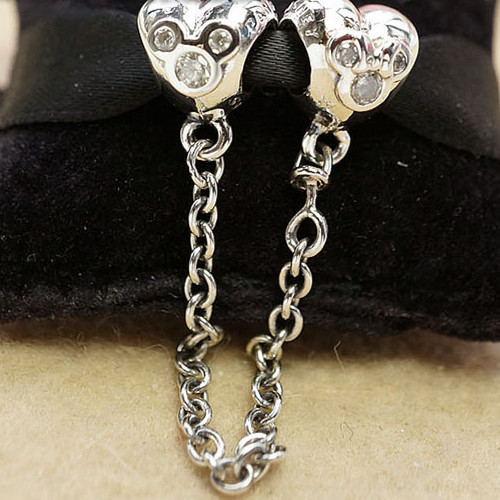 2015 NEW Spring S925 Sterling Silver Heart of  Safety Chain Fit Bracelets & pendants CE540