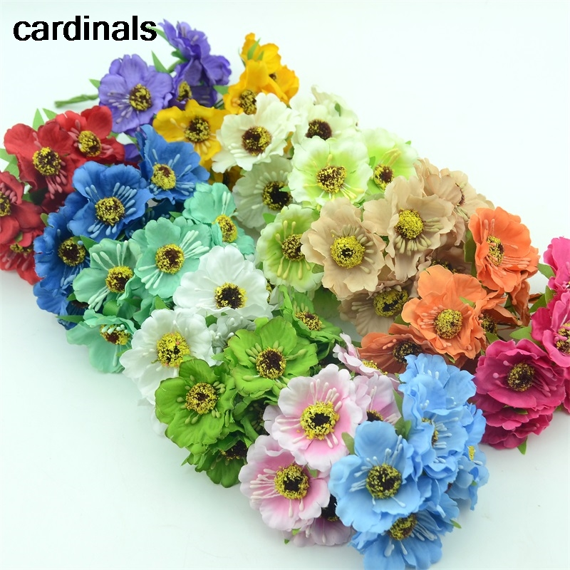 6pcs/lot Real Touch Hight Small Grade Artificial Poppy Bouquet Wedding Silk Rose Flowers For DIY Wedding Wreath Decoration