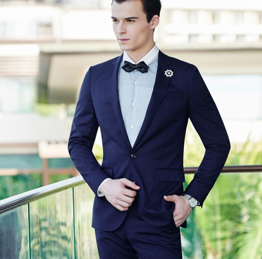 Man a grain of buckle two-piece groom suit high quality customized lapel royal blue suit handsome ball gown (jacket + pants)