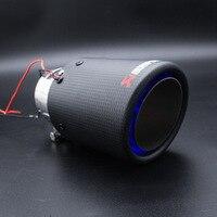 Modificação de Automóvel Tubo De Escape com Luminescente 89mm Fibra De Carbono Cauda Garganta e Resistente de Alta Temperatura CONDUZIU a Lâmpada