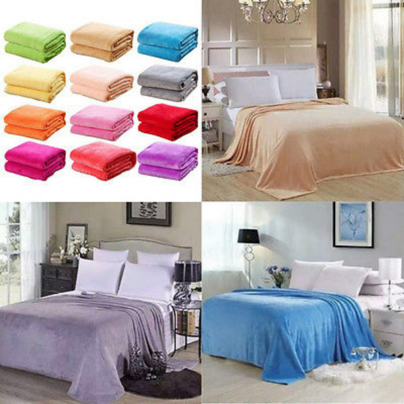 Small Super Flannel Velvet Warm Solid Warm Micro Plush Fleece Blanket Throw Rug Bedding Cover Case Sheets ...