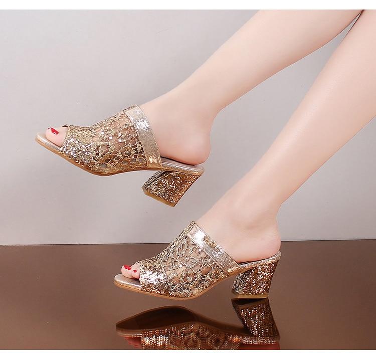 HTB14FSngKuSBuNjy1Xcq6AYjFXaE Women sandals 2019 Bling fashion square heel summer lace slippers women sexy Hollow sandals for women size 35-41