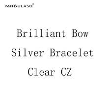 Pandulaso brillante arco pulseras de plata para las mujeres claro CZ piedra cristal pulseras 2018 nueva moda Primavera plata 925 joyería