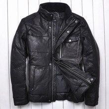 2014 Sheepskin Collar Thicken Simple Business Leisure Commuter Men s leather down jacket