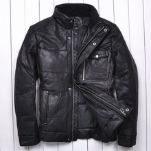 2014 Sheepskin Collar Thicken Simple Business Leisure Commuter Men's leather-based down jacket