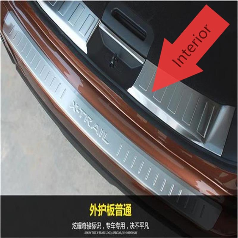 For Nissan X-Trail Rogue 2014 2015 2016 Stainless steel Rear Bumper interior Trunk Threshold Door Sill Protector Cover Trims car rear trunk security shield shade cargo cover for nissan x trail xtrail rogue 2014 2015 2016 2017 black beige