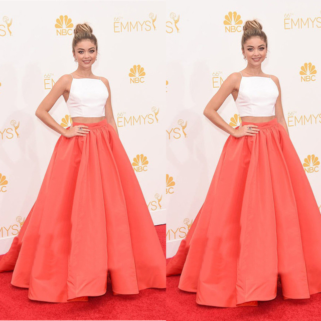 White And Orange Sweet Two Piece Ball Gown Prom Dresses 2015 Long Women  Formal Party Gowns vestido de fiesta 7397368f70a8