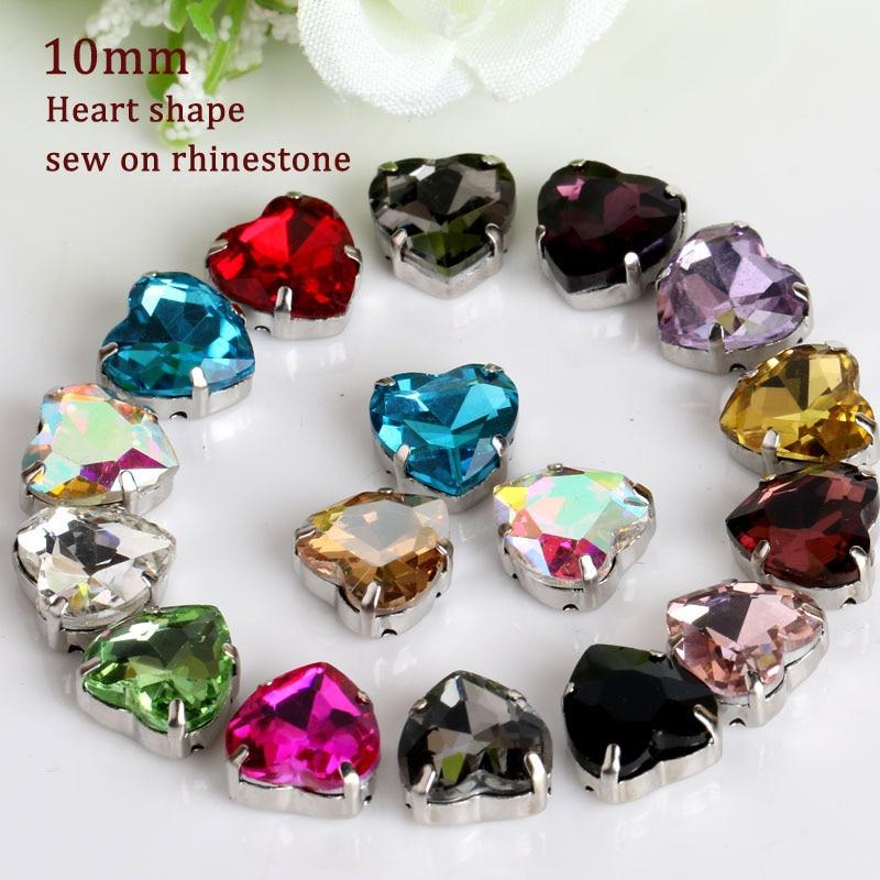 10mm 20pcs Cusut de calitate superioară pe pietre, pietre din cristal cu cristale în formă de inimă cu gheară
