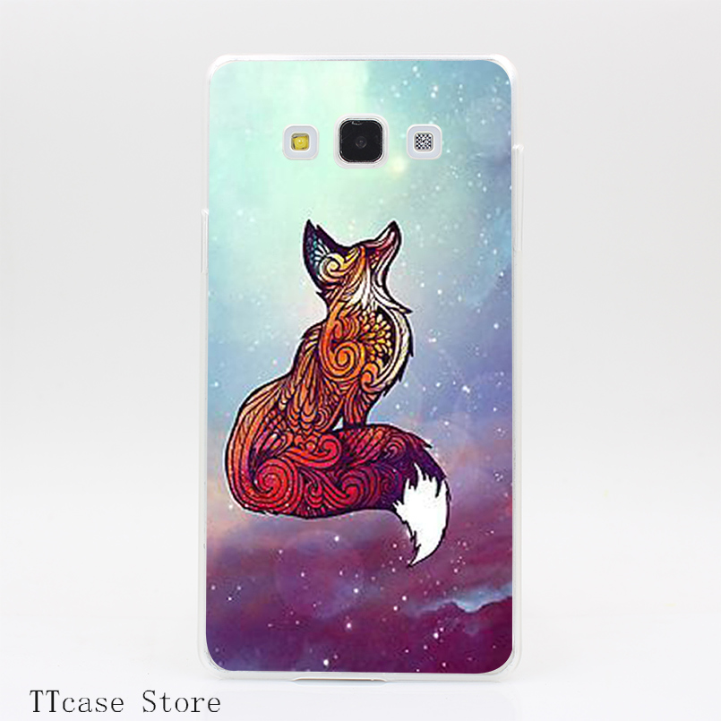 3212CA Space Fox Transparent Hard Cover Case for Galaxy A3 A5 A7 A8 Note 2 3 4 5 J5 J7 Grand 2 & Prime