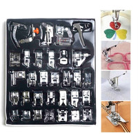 32pcs Domestic Sewing Machine Presser Foot Feet Kit Set Parts Accessories For Brother Singer Janom Multifunction Sewing Machine