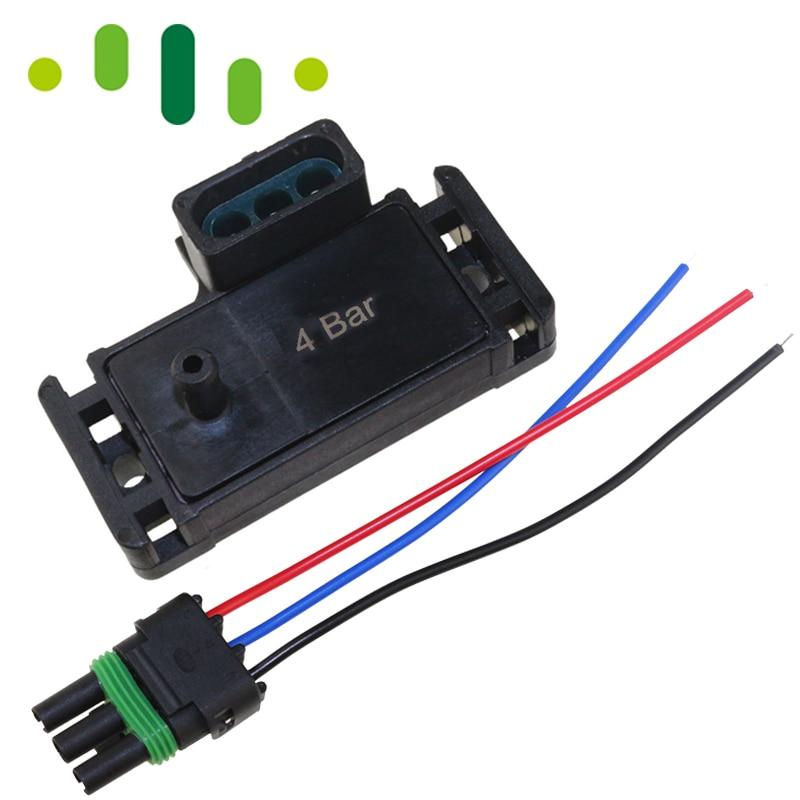 100% test 4bar 4 bar 58 psi 58psi turbo boost pressure map sensor for gm  delphi electromotive motec with plug wire pigtail